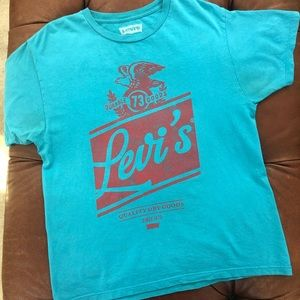 Levi's TShirt Short Sleeve Turquoise Red Large